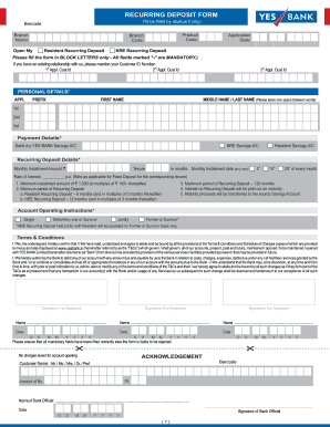 yes bank online application form